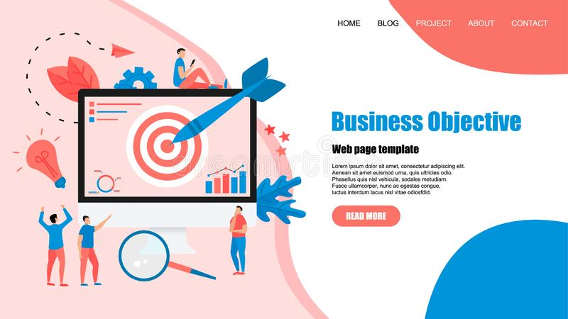 Webpage template. Business objective with an arrow, hit the target, goal achievement. Business concept vector illustration.  stock illustration