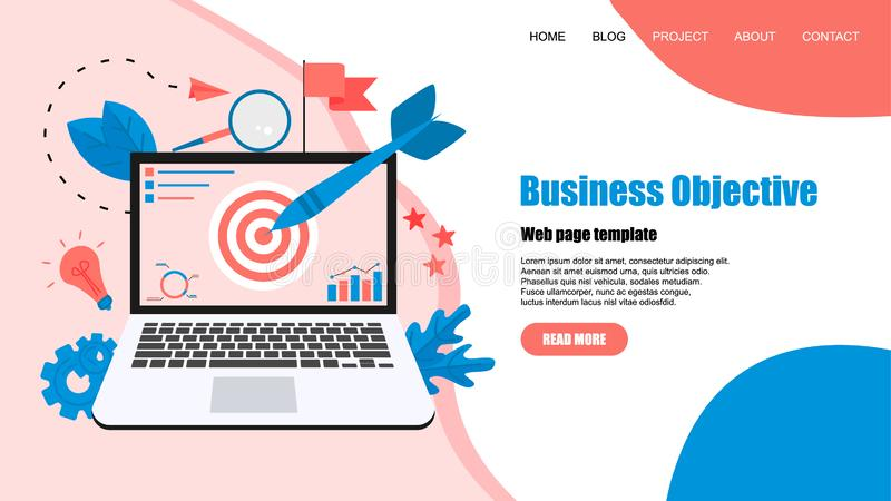 Webpage template. Business objective with an arrow, hit the target, goal achievement. Business concept vector illustration.  vector illustration