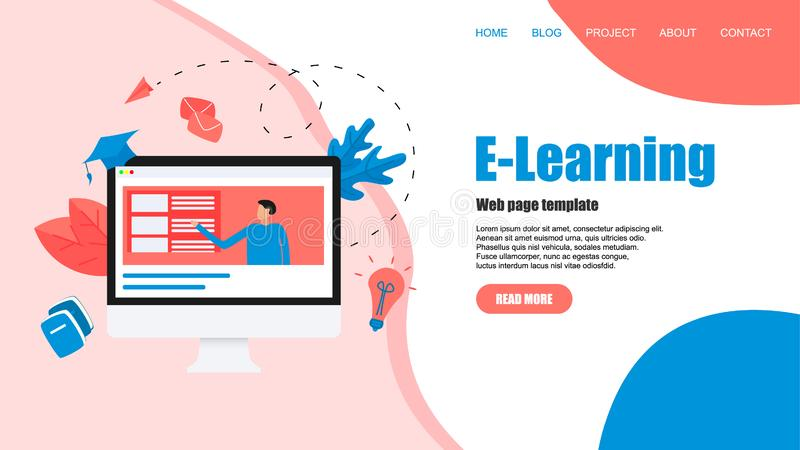 Webpage template with Online education or web course with distance teacher. E-learning concept vector illustration