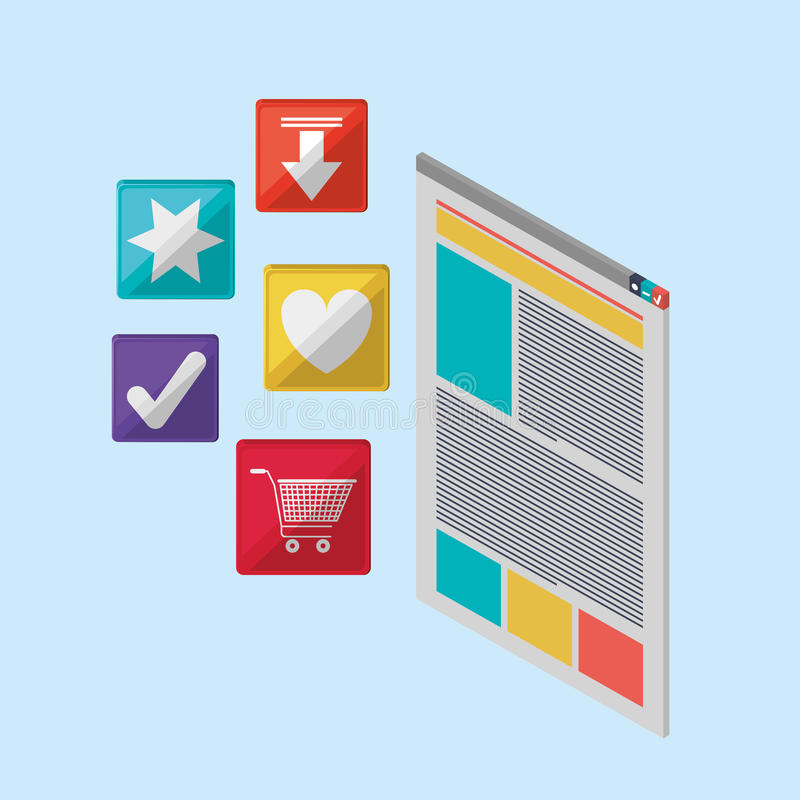 Webpage or website with internet related icons image. Vector illustration design royalty free illustration