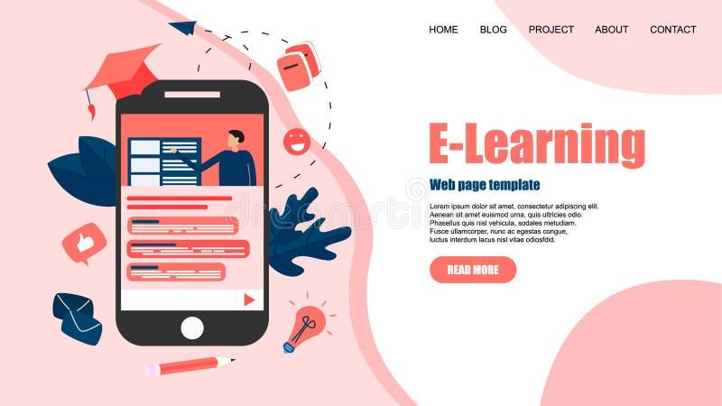 Webpagemall med online-utbildning eller rengöringsdukkurs med avståndsläraren key b?rbar dator f?r datorbegrepp som e l?rer silve royaltyfri illustrationer
