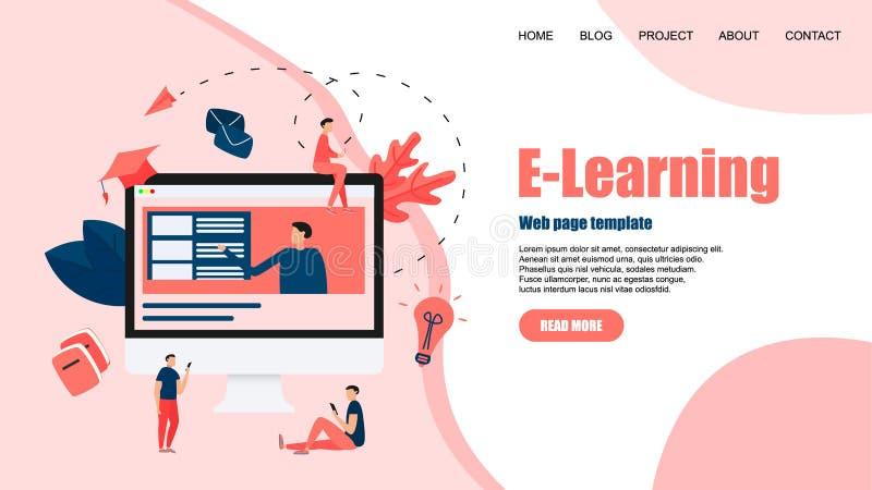 Webpagemall med online-utbildning eller rengöringsdukkurs med avståndsläraren key b?rbar dator f?r datorbegrepp som e l?rer silve vektor illustrationer