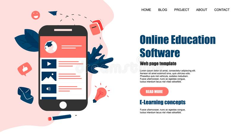 Webpagemall Online-utbildningsapp key b?rbar dator f?r datorbegrepp som e l?rer silver stock illustrationer