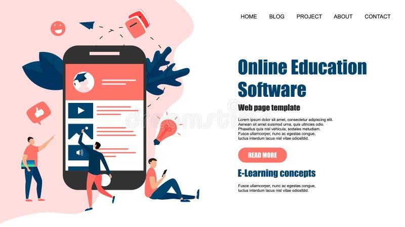 Webpagemall Online-utbildningsapp key b?rbar dator f?r datorbegrepp som e l?rer silver royaltyfri illustrationer