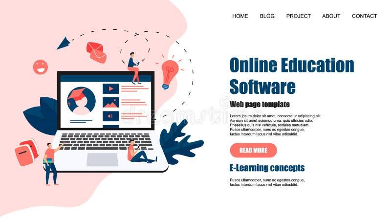Webpagemall Online-utbildningsapp key b?rbar dator f?r datorbegrepp som e l?rer silver vektor illustrationer