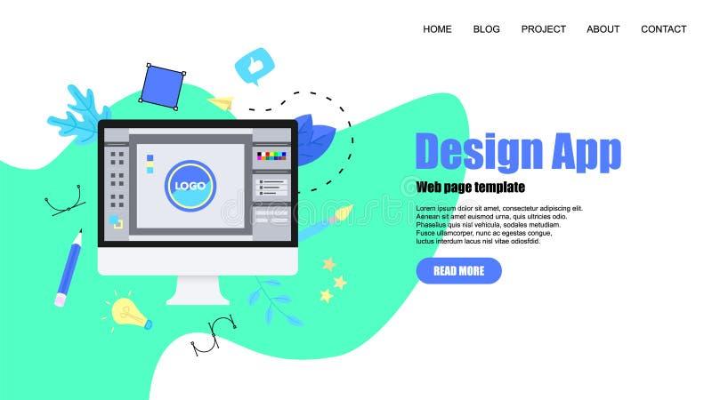 Webpagemall Plant begrepp för grafisk design för vektor med en öppen designapplikation med ett idérikt projekt vektor illustrationer