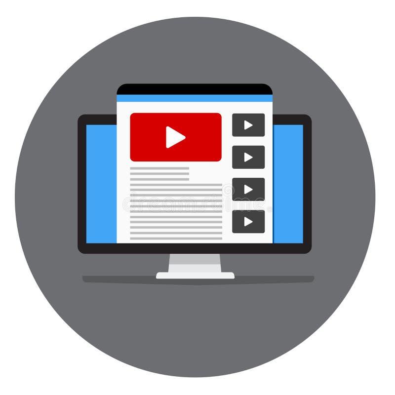 Webpagina met video op monitor Vectorbeeld van een plaats of een embleem vector illustratie