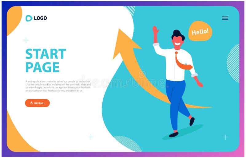 Webpagina voor succesvolle zaken een jonge mens neigt een leider te zijn royalty-vrije illustratie