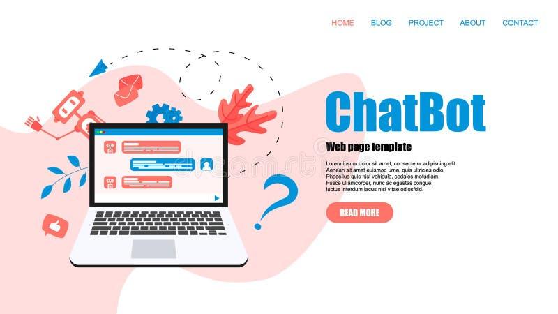 Webpaginamalplaatje Chatbot bedrijfsconcept Communicatie met chatbot Kunstmatige intelligentie in klantenondersteuning royalty-vrije illustratie