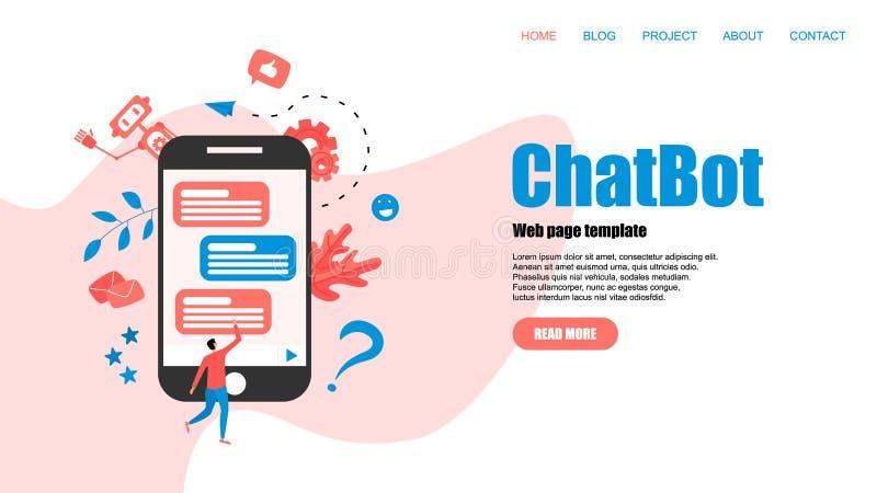 Webpaginamalplaatje Chatbot bedrijfsconcept Communicatie met chatbot Kunstmatige intelligentie in klantenondersteuning stock illustratie