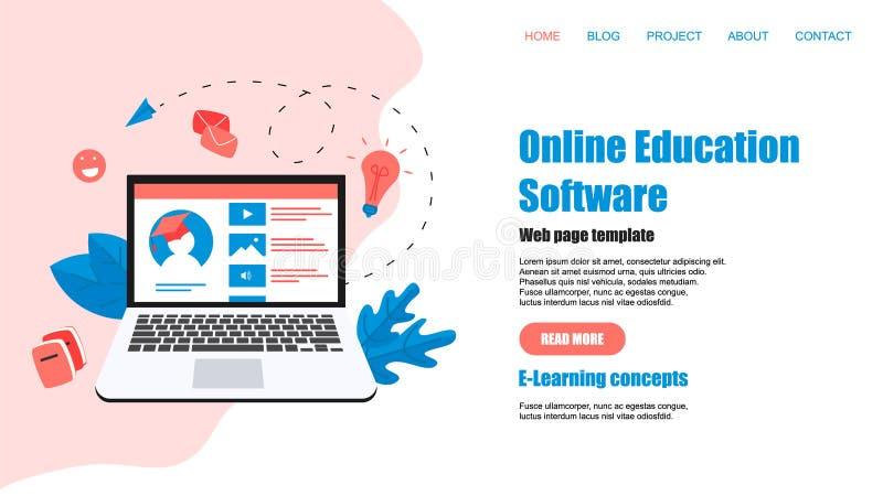 Webpaginamalplaatje Online onderwijs app E-lerend Concept royalty-vrije illustratie