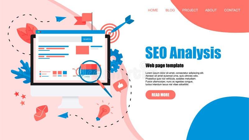 Webpaginamalplaatje Seoanalyse met onderzoek en meer magnifier op Desktop Bedrijfs concept vector illustratie