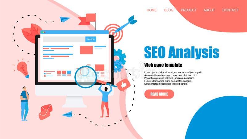 Webpaginamalplaatje Seoanalyse met onderzoek en meer magnifier op Desktop Bedrijfs concept royalty-vrije illustratie