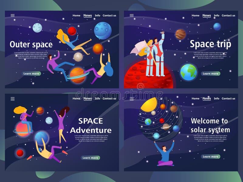 Webpaginamalplaatjes voor kosmische ruimte website en mobiel landingspagina stock illustratie