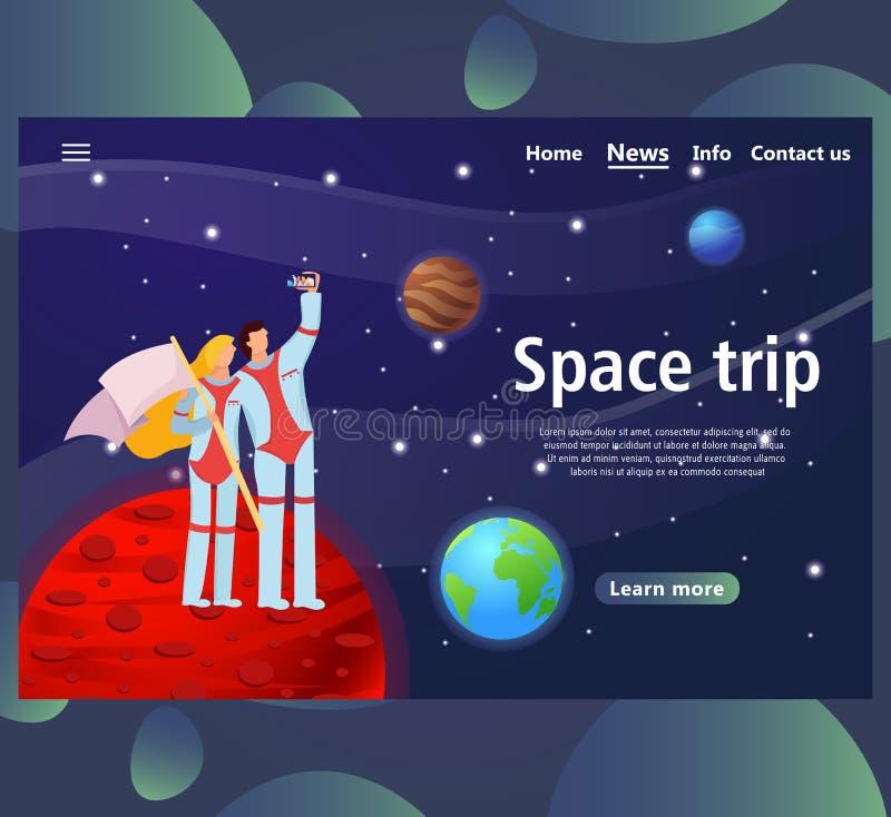 Webpaginamalplaatjes voor ruimtereisontwerp website en mobiel landingspagina royalty-vrije illustratie