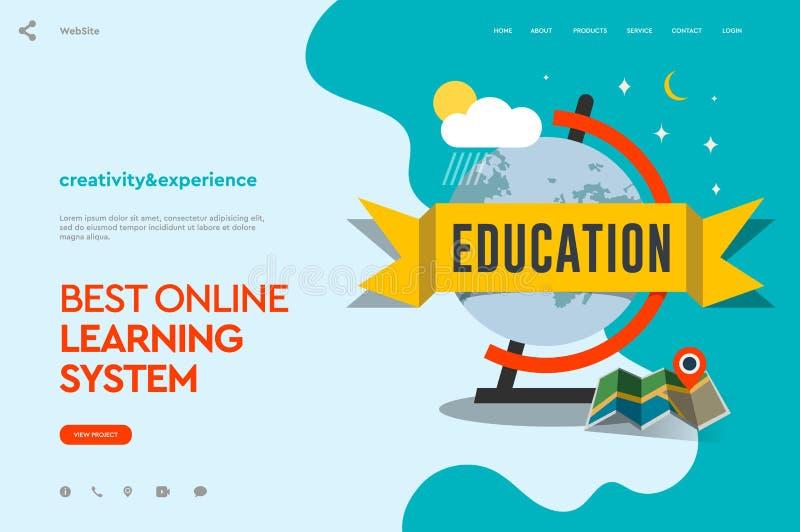 Webpaginaontwerpsjabloon van afstandsonderwijs, onlinetrainingcursussen, onderwijs apps, jaarlijks het onderwijsplan modern stock illustratie
