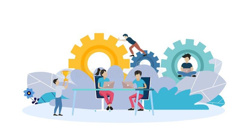 Webpaginaontwerpsjabloon voor businessplan, analyse en statistieken, de teambouw, het raadplegen Moderne vectorillustratie stock illustratie
