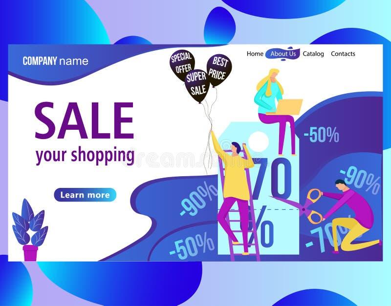 Webpaginaontwerpsjabloon voor online het winkelen en verkoop Korting, kleinhandel royalty-vrije illustratie