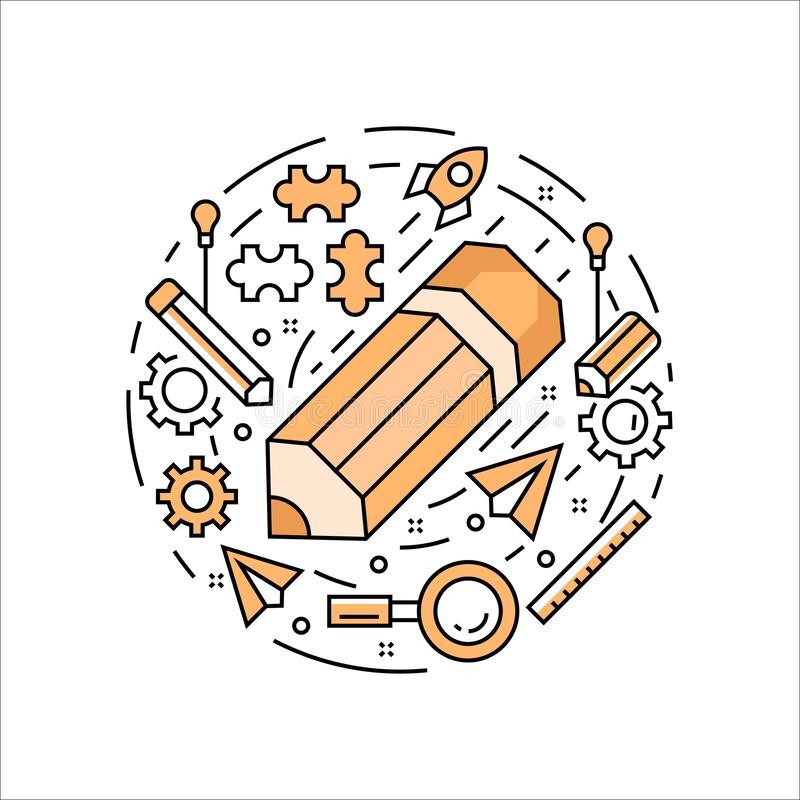 WebPencil illustration. Iconic flat line design in circle concept with orange color. Doodle style vector vector illustration