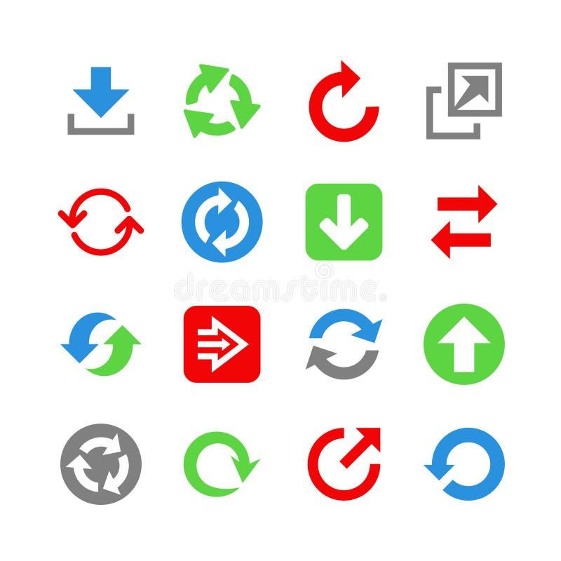 16 Webpictogrammen met pijlen. Pictogramreeks stock illustratie