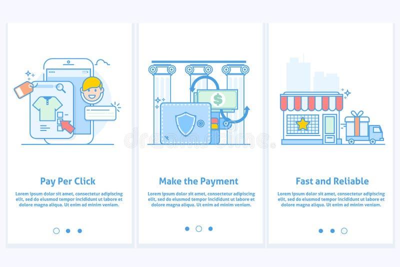Webpictogrammen voor elektronische handel en Internet-bankwezen Malplaatje voor mobiele app en website Moderne blauwe interface U royalty-vrije illustratie