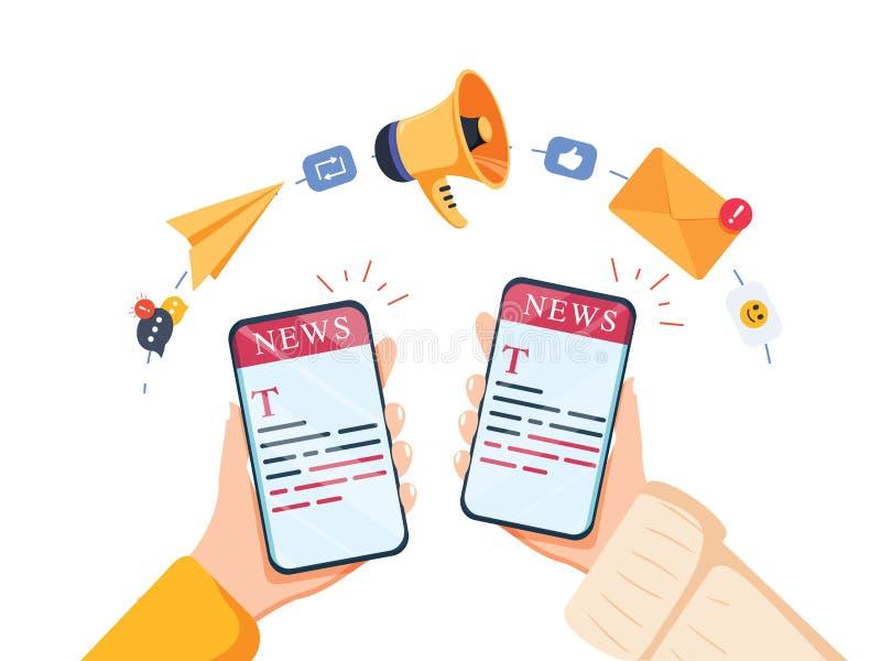 WebReadingsnieuws op mobiel apparatenconcept Vector van een smartphone van de handholding met nieuwswebsite stock illustratie
