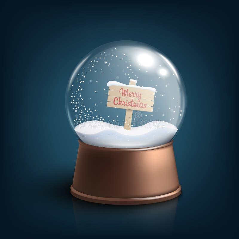 WebRealistic szklana śnieżna kula ziemska - Wesoło bożych narodzeń kartka z pozdrowieniami z sfer pamiątkarskimi i spadają płatek ilustracja wektor
