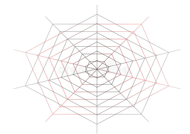 Webs. A interlocked system of webs in a hinted red and black effect vector illustration
