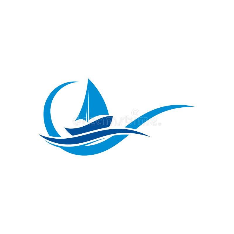 WebSailboat logo with Ocean wave sing & symbol,  water logo, river wave logo design template. ship logo design vector illustration