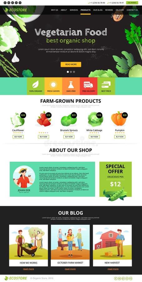 Webseite Eco-Lebensmittel vektor abbildung
