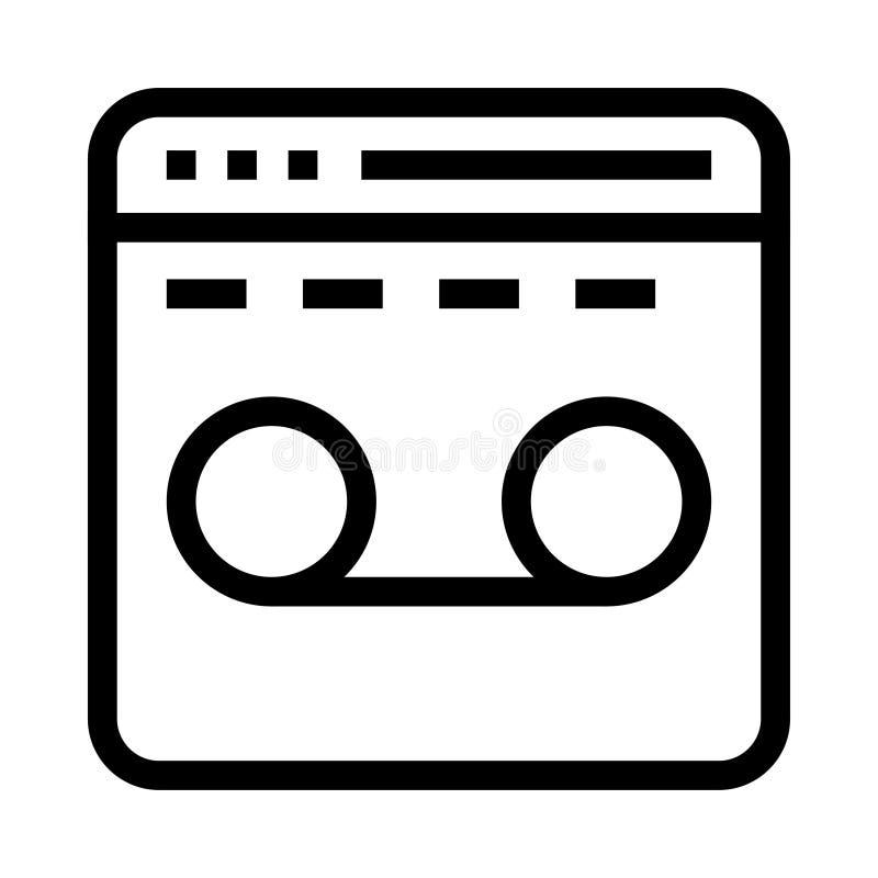 Webseitenaufnahme-Vektorlinie Ikone stock abbildung