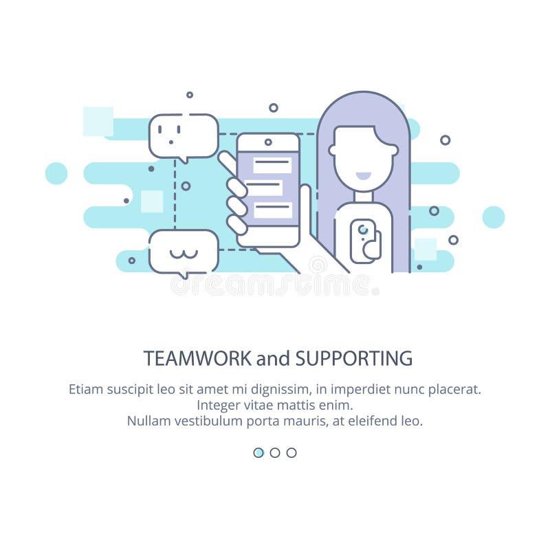 Webseitendesignschablone der Unterstützung, Teamwork, Firmenkundengeschäftarbeitsfluß, Karrieregelegenheiten, Teamfähigkeiten lizenzfreie abbildung