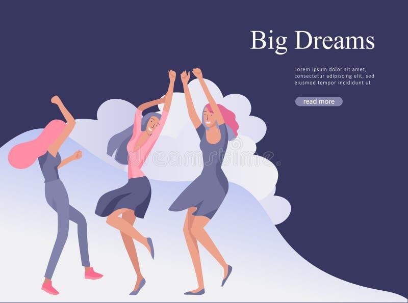 Webseitenentwurfsschablone für Schönheitsträume, der Tag der internationalen Frauen, Mädchen Energie, Wellness, Körperpflege, ges lizenzfreie abbildung