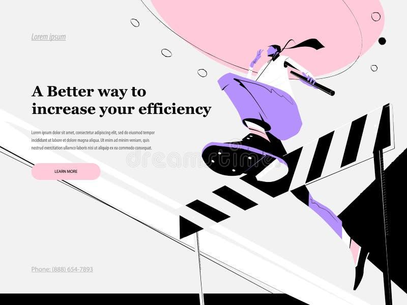 Webseitenentwurfsschablonen mit einem Geschäftsmann, der über die Sperre mit abaton in seiner Hand springt Geschäft, Büro, Arbeit stock abbildung