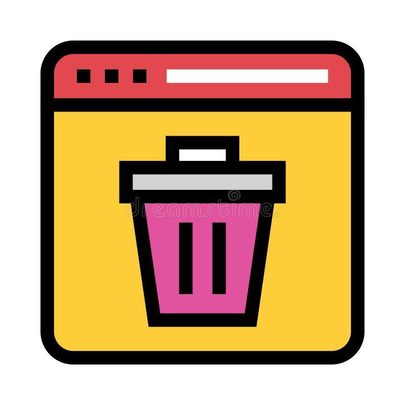 Webseitenlöschungs-Farblinieikone lizenzfreie abbildung