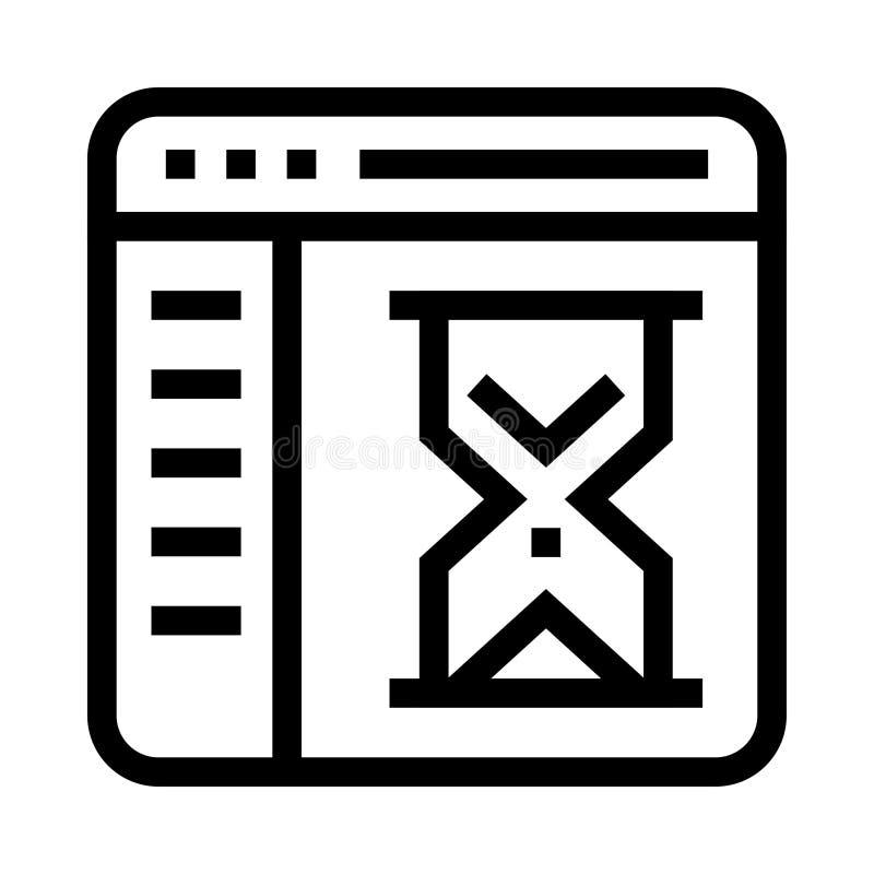 Webseitensanduhr-Vektorlinie Ikone lizenzfreie abbildung