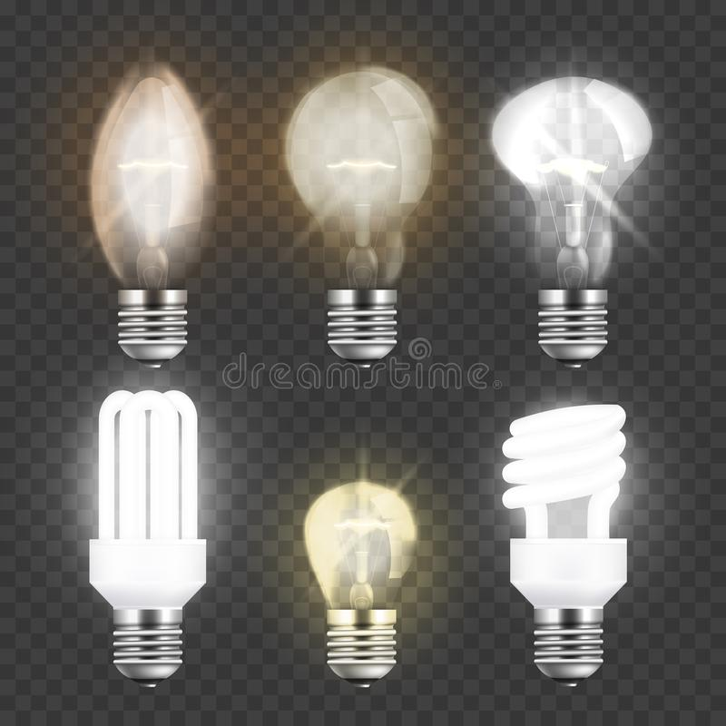 WebSet of realistic electric light bulbs, different types of glass or fluorescent lightbulbs. Set of realistic electric light bulbs, different types of glass or vector illustration