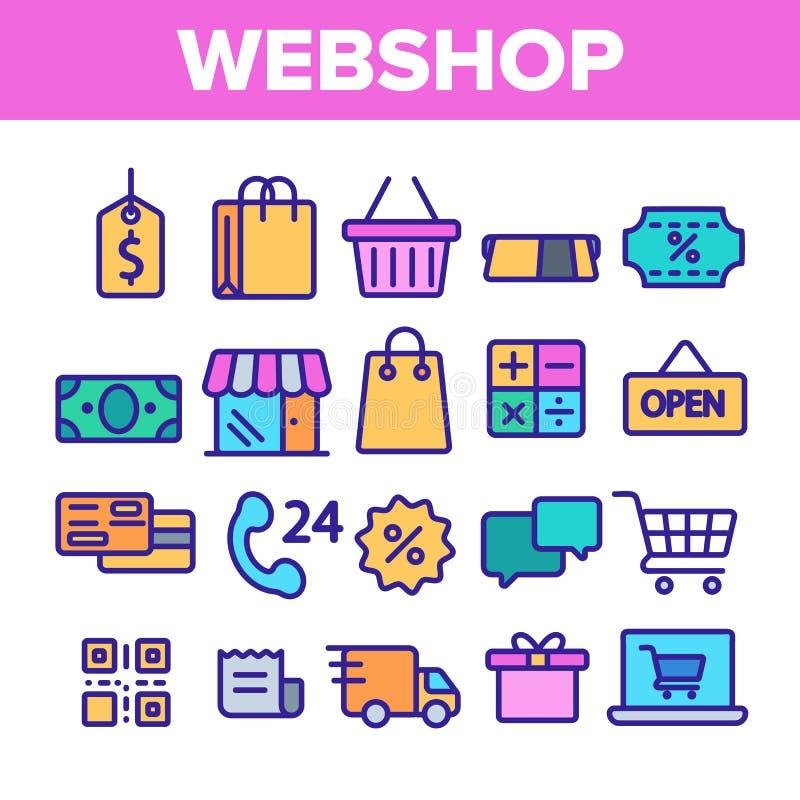 Webshop, онлайн ходя по магазинам линейный набор значков вектора иллюстрация штока