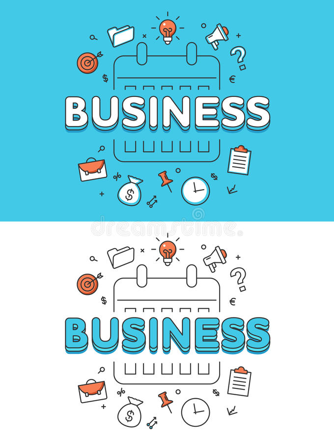 Websit plano linear del horario del calendario del plan empresarial libre illustration