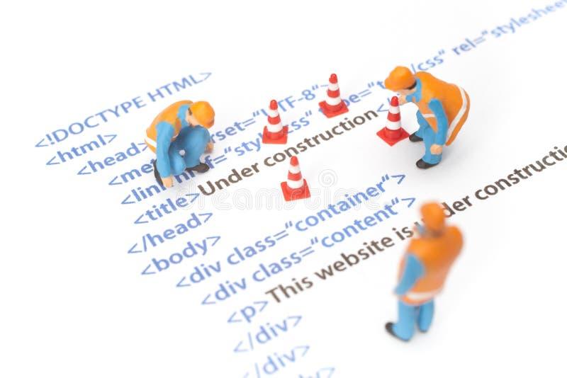 Website in aanbouw stock afbeelding