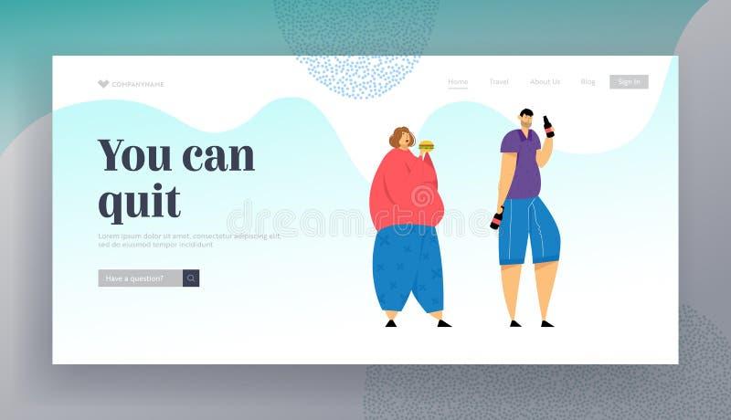 Website Addict of Food and Alcohol Drinks Landing Page, Addict, übergewichtige weibliche Essensburgerin, Man Drinking Beer lizenzfreie abbildung