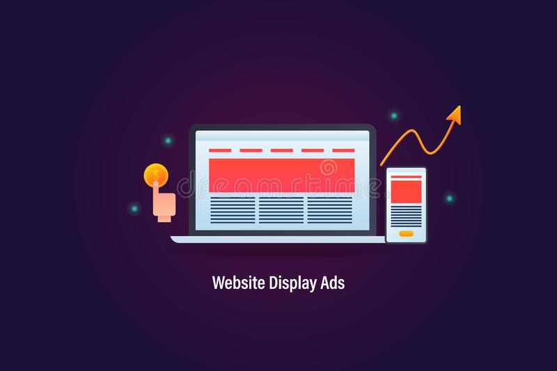 Website advertisement displaying on laptop and mobile device, pay per click concept, with revenue growth, web banner. stock illustration