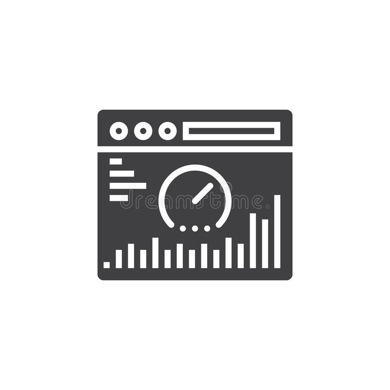 Website analysis icon vector, filled flat sign, solid pictogram vector illustration
