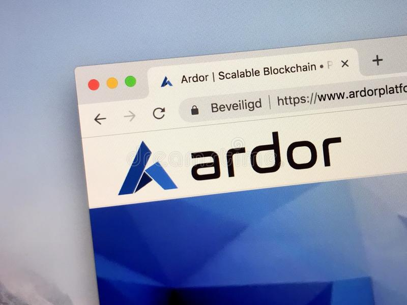 Website of Ardor crypto coin. Amsterdam, Netherlands - October 12, 2018: Website of Ardor coin, a digital cryptocurrency based on a blockchain royalty free stock image