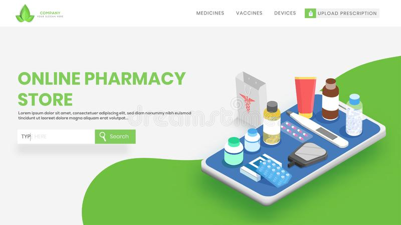Website banner with different medical equipment on smartphone screen concept for Online Pharmacy Store Concept. Can be used for. Mobile application stock illustration