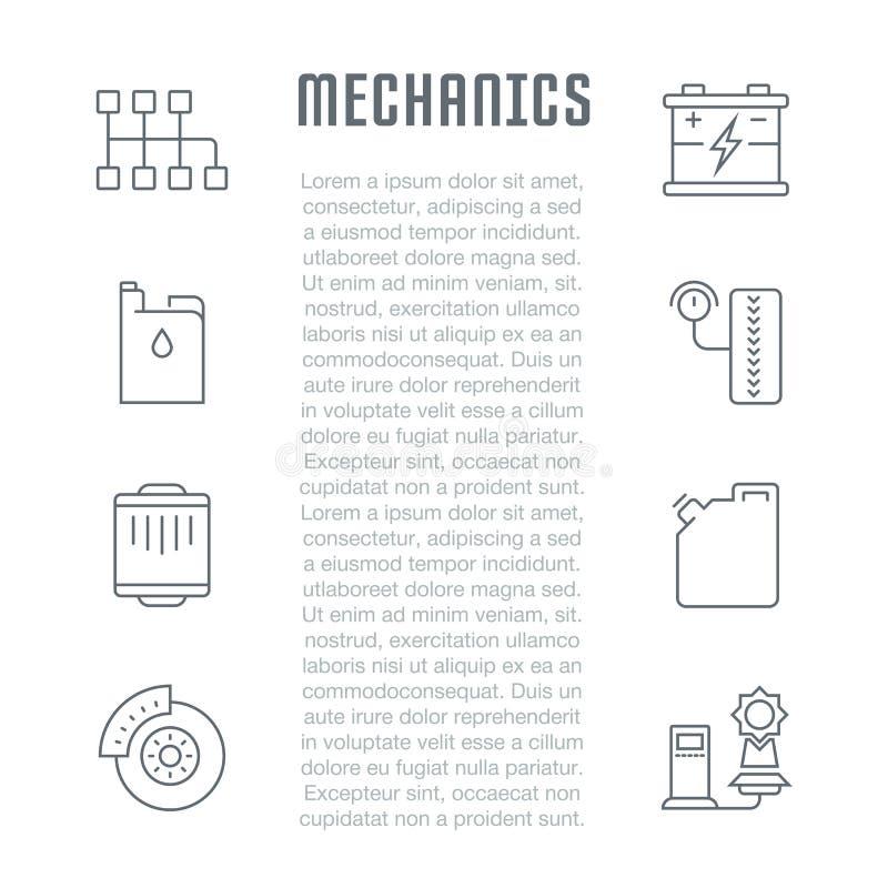Website Banner and Landing Page of Mechanics. vector illustration