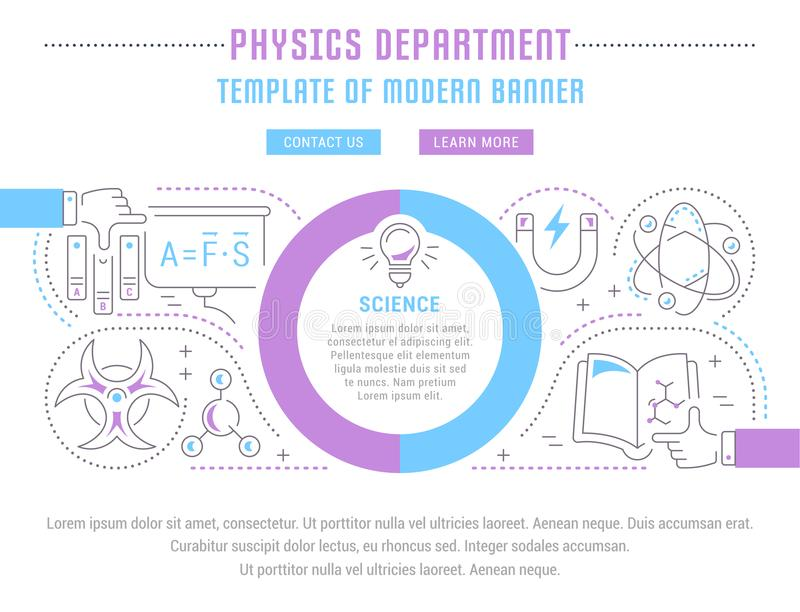 Website Banner and Landing Page of Physics Department. royalty free illustration