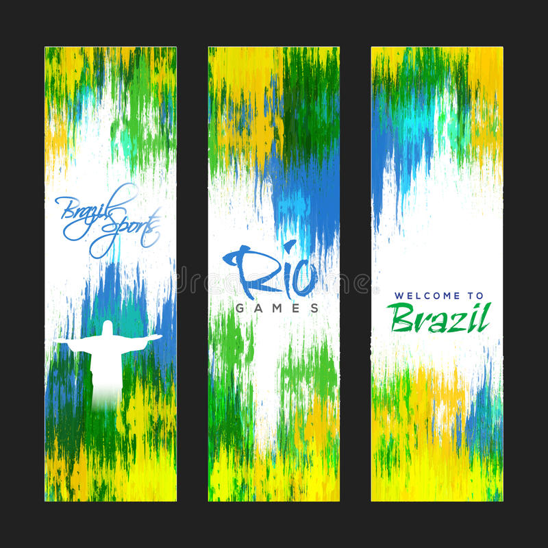 Website Banner set for Sports concept. Creative Website Banner set decorated with Brazilian Flag colors abstract design for Sports concept royalty free illustration