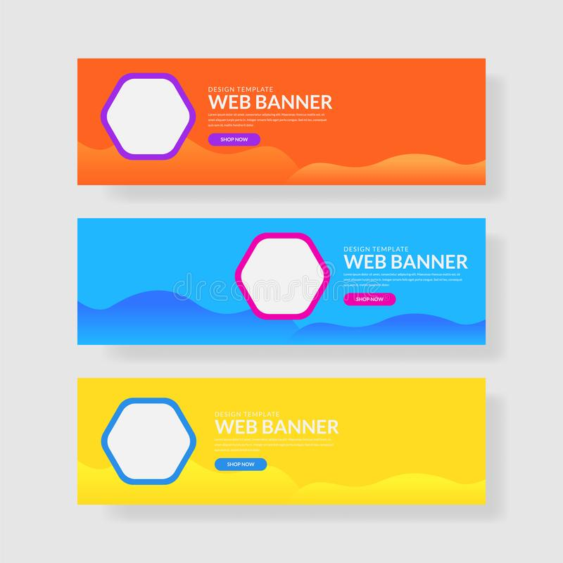 Website banner ui ux. Colorful geometric background. Fluid shapes with trendy gradients vector illustration