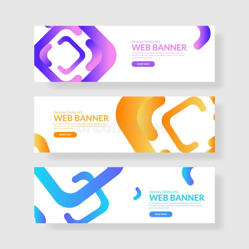 Website banner ui ux. Colorful geometric background. Fluid shapes with trendy gradients royalty free illustration